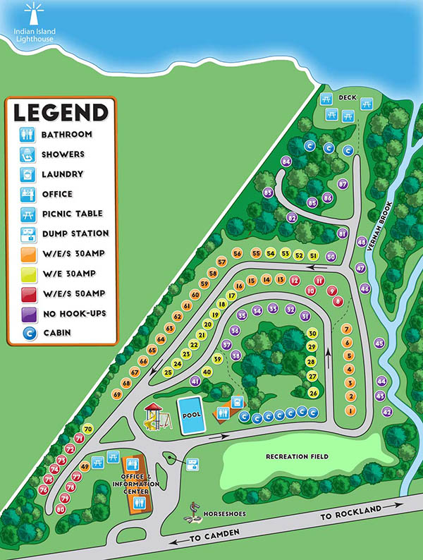 Megunticook Campground by the Sea in Rockport Maine campground map